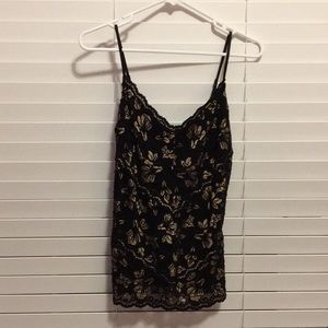 Cache Black and Gold Lace Tank Top